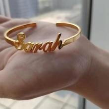 Personalized Bracelet for Women Custom Name Bracelets JewelryBangles Stainless Steel Adjustable Open Nameplate  Gift