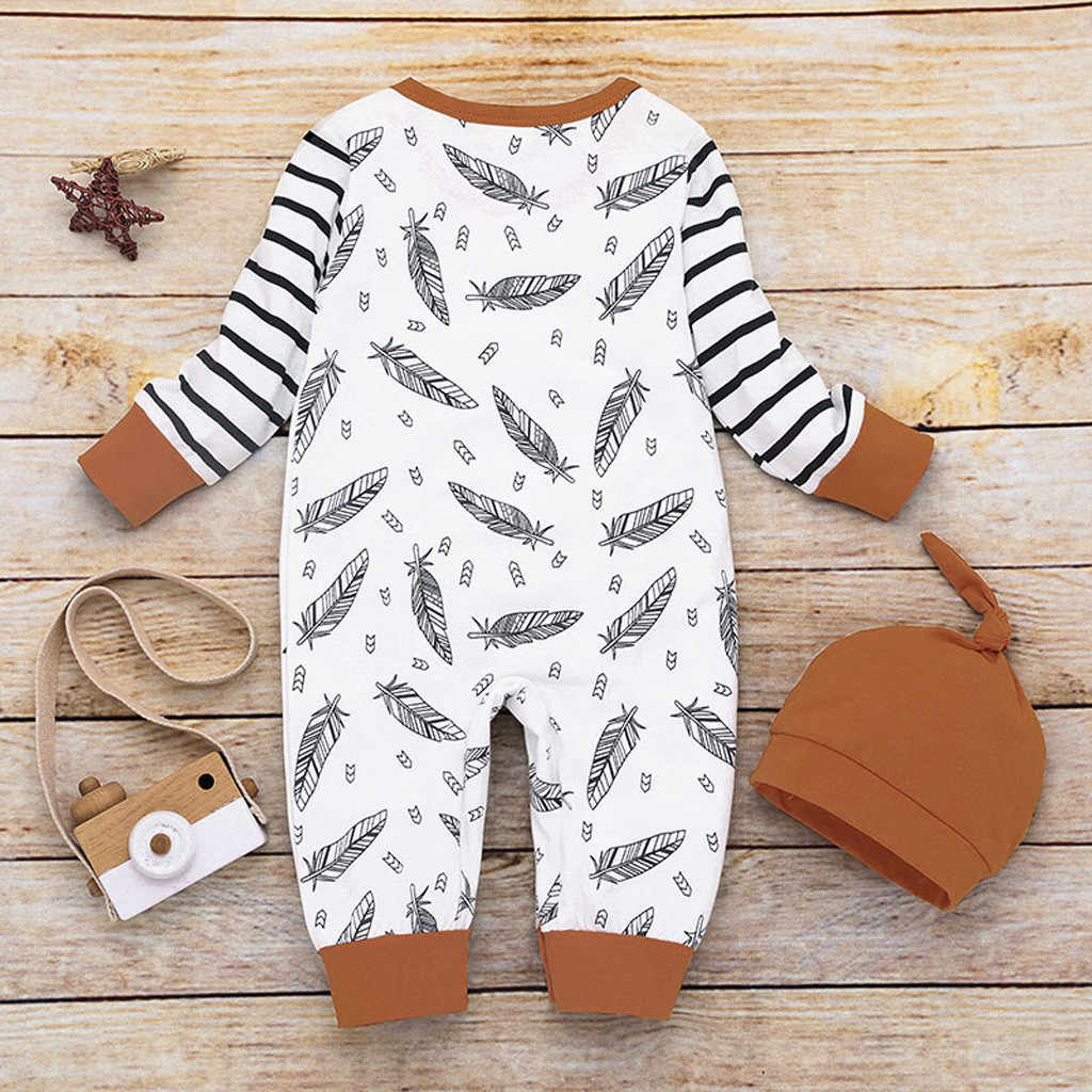יוניסקס Rompers בגדי יילוד תינוקות תינוקת ילד סלעית נוצת פסים Romper סרבל בגדי תינוק בגדים זרוק חינם