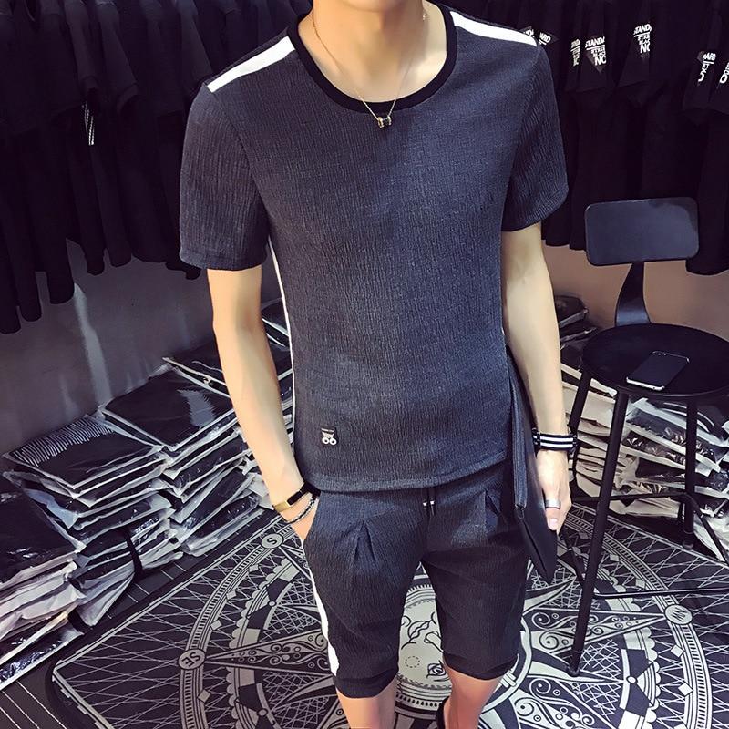 2019 Men Leisure Set Two Pieces Summer Wear New Style T-shirt Capri Pants Slim Fit Casual Mixed Colors Trend Set Men's