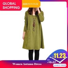 EaseHut vestido Midi informal de otoño e invierno para mujer, Vestido de manga larga con cuello de pico, talla grande 4XL y 5XL, 2020