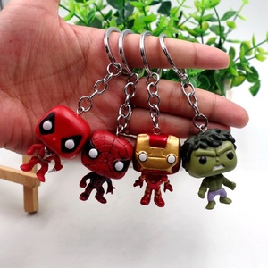 POP 4 pcs/lot Marvel Super Heroes Action Figures Vinyl Dolls Keychain Thor Thanos Spider-Man Hulk Iron Man Avengers Bag Pendant(China)