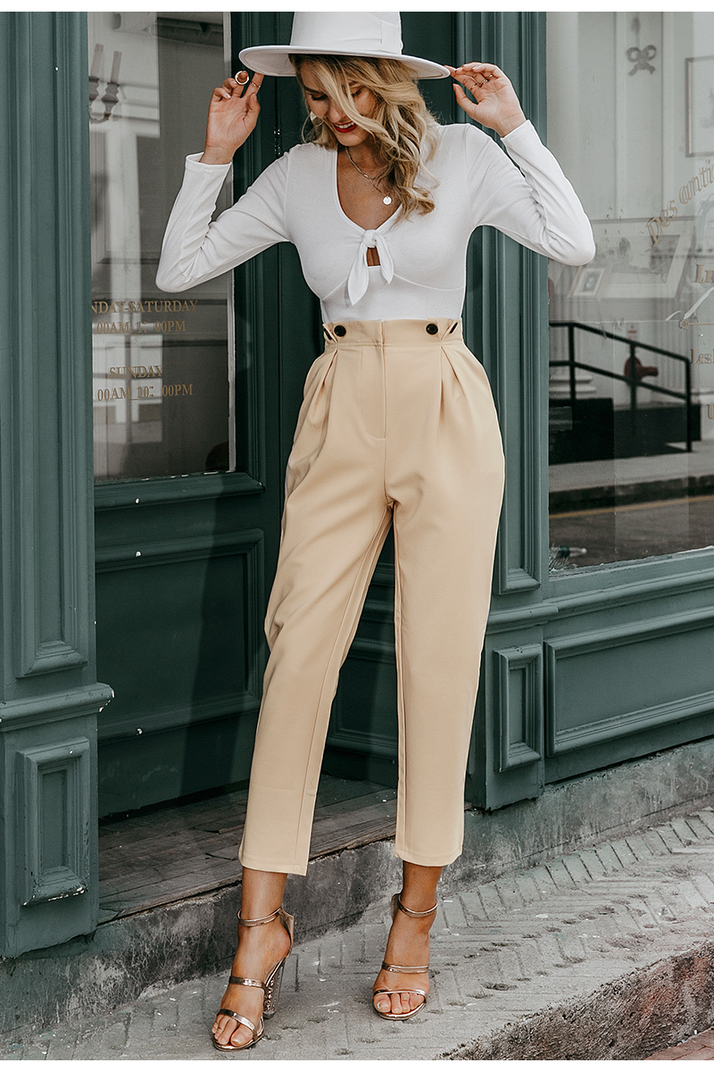 Simplee Solid casual harem pants female trousers High waist office ladies blazer suit pants Loose Ankle-length women pants 19 7