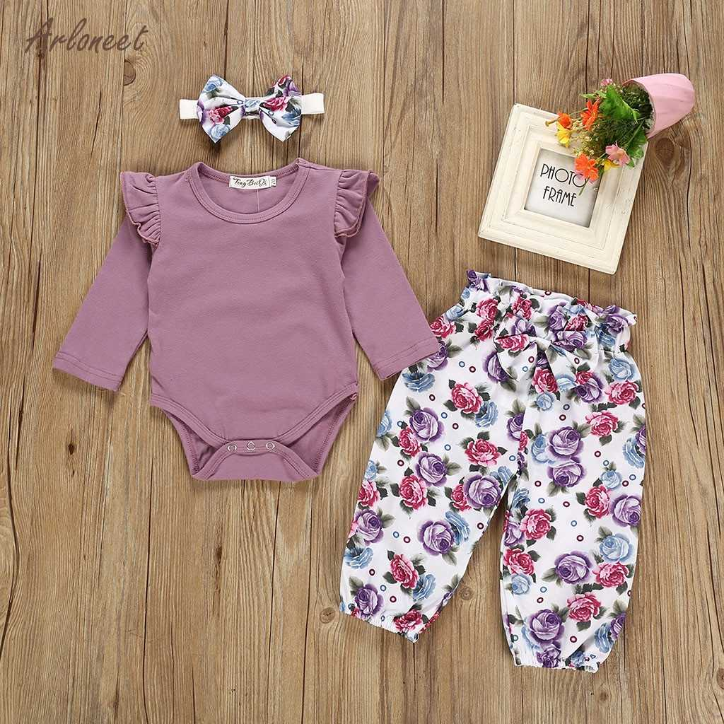 ARLONEET todler, ropa de niña con volantes, mono sólido + Pantalones florales + diadema, ropa de boutique para bebé, conjunto de Ropa para Niñas