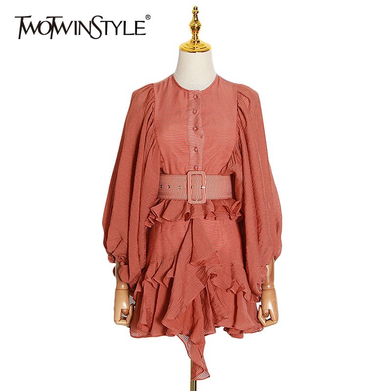 TWOTWINSTYLE Casual Patchwork Ruffles Women Dresses O Neck Lantern Long Sleeve High Waist With Sashes Dress Female Clothing Tide