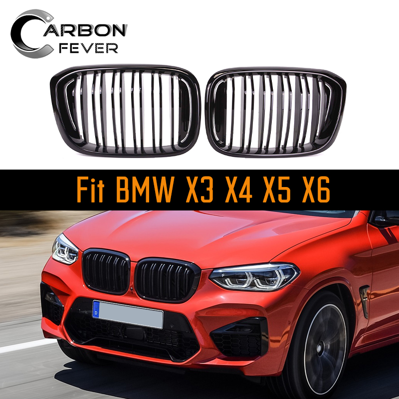 2-Line Racing <font><b>Grille</b></font> For <font><b>BMW</b></font> X series <font><b>X3</b></font> X4 X5 X6 <font><b>G01</b></font> G02 E70 E71 F15 F16 F25 F26 ABS Gloss Black M color image