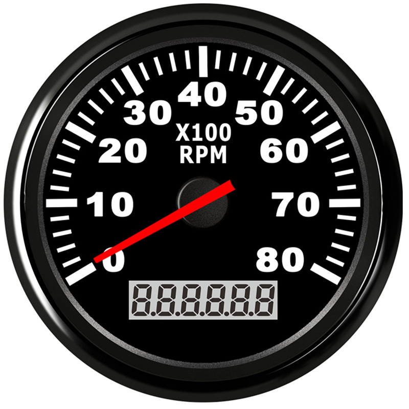 Boat Tachometer Marine Tacho Meter Gauge LCD Hourmeter 8000 RPM 85mm Car Tachometer 12V 24V  Red Backlight