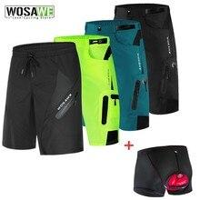 WOSAWE-short de cyclisme pour hommes, avec coussin en Gel 5D, sous-vêtements de cyclisme et VTT