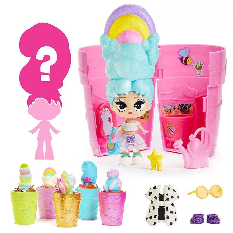 Nova Boneca Brinquedos Hobbies Blume Magia Flowerpot Surpresa Blind Box Rega Vai Flor Bloom Long Hair Dolls Presentes Meninas Natal