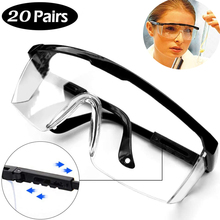 20PCS Transparent Safety Goggles Protective Safety Glasses Anti Dust Protection Riding Eyewear Vented Lab Glasses Anti Saliva