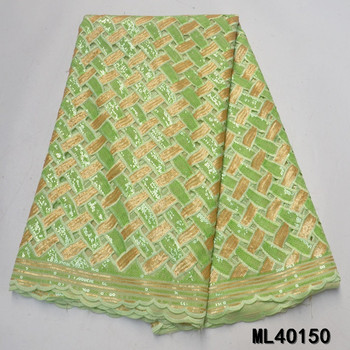 BEAUTIFICAL african organza fabrics 2020 New organza lace nigerian sequins fabric 5yards organza lace fabric ML4O150 фото