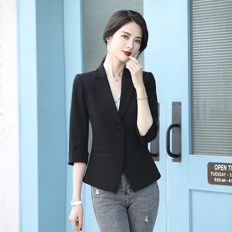 Summer Blazer for Women Large Size Elegant Slim Single Breated Ladies Office Work Blazer Coats Female Green Orange Black 4XL