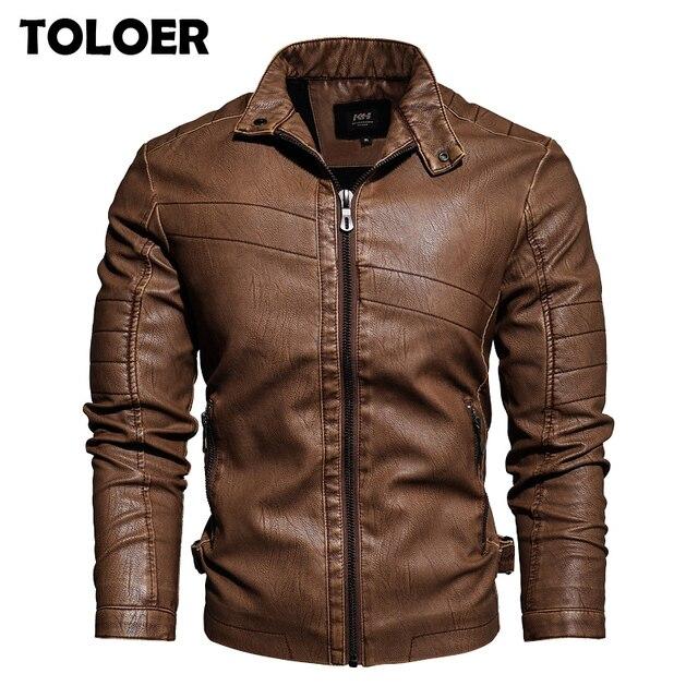 Мужская кожаная куртка в стиле милитари, модная винтажная куртка бомбер с воротником стойкой, весна 2019