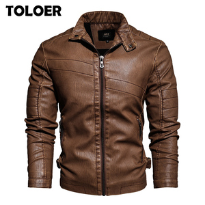 Image 1 - Spring Mens Leather Jacket New Arrival Fashion Vintage Leather Coat Men Stand Collar Military Bomber Jacket Male chaqueta hombre