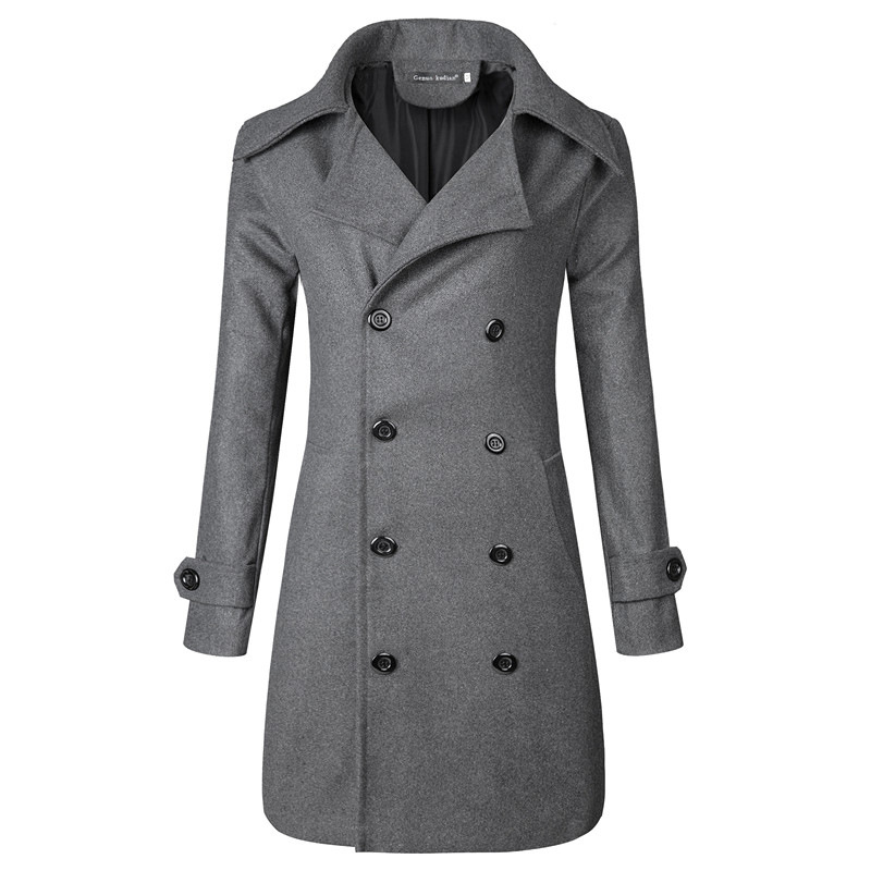 Factory Wholesale 2017 Foreign Trade Plus-sized   Trench   Coat Men's Double-breasted Mid-length Porous 3D   Trench   Coat Duffle Coat J