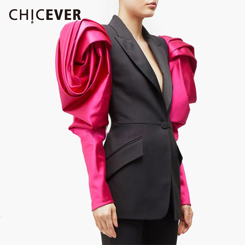CHICEVER Elegant Hit Color Blazer For Women Puff Sleeves Notched Single Button Pocket Female Blazers 2019 Autumn Fashion New
