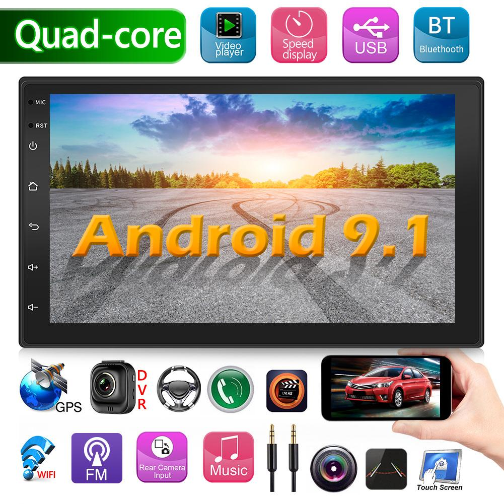 Double 2DIN Car Stereo MP5 Player 1GB+16GB Android 9.1 GPS Navigation BT WiFi USB Auto Radio Head Unit Driving Speed Display title=