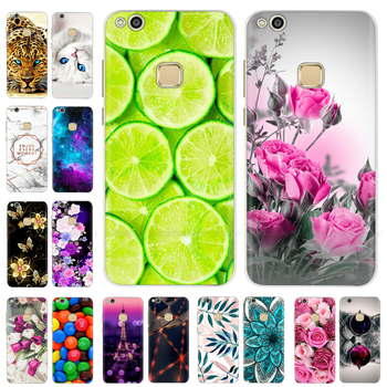 for Huawei P10 lite Case Silicone Cover Case for huawei P10 Soft TPU Back Cover Cute Cartoon Cat Flo