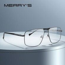 MERRYS-gafas cuadradas clásicas para hombre, montura óptica de lujo con doble puente, Marcos para gafas con receta, S2012
