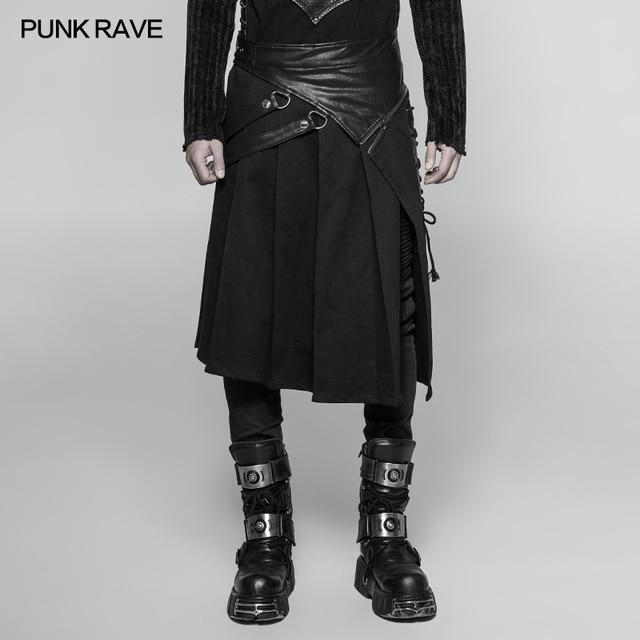 PUNK RAVE Gothic Steampunk Men Skirt Vintage Japanese Removable Cosplay Men's Half Skirt Pants 1