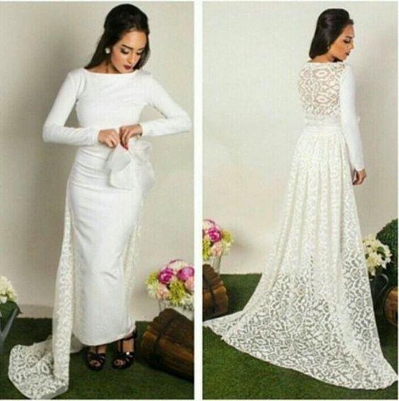 Robe De soirée Longue 2019 blanc dentelle Train sirène longues robes De soirée à manches longues o-cou Satin robes De soirée Vestido De Gala