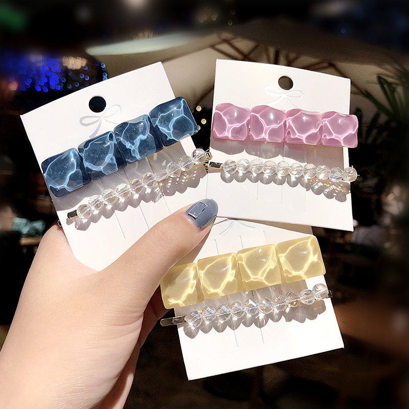 2pcs/Set New Women Elegant Acrylic Crystal Geometric Barrettes Sweet Hair Clips Headband Cute Hairpins Fashion Hair Accessories