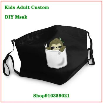 New Design Sloth In My Pocket washable reusable face mask adult mascarillas de tela lavables con filtro earloop mask