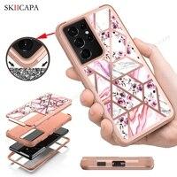 Custodia antiurto in marmo placcatura ibrida 3 in 1 per Samsung Galaxy S21 Ultra Note 20 10 9 8 S10 S9 Plus custodia protettiva resistente