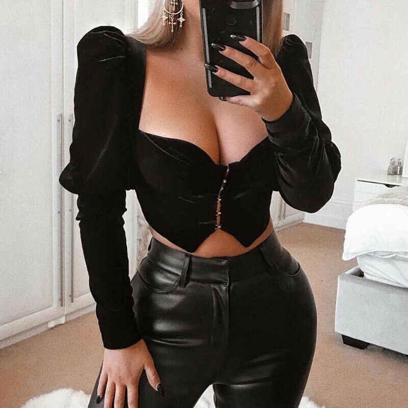 W nowym stylu kobiety Sexy aksamitna T koszula czarny krótki top panie niska klatka ciało Patchwork bufiaste rękawy bluzka z fałdami modne ciuchy