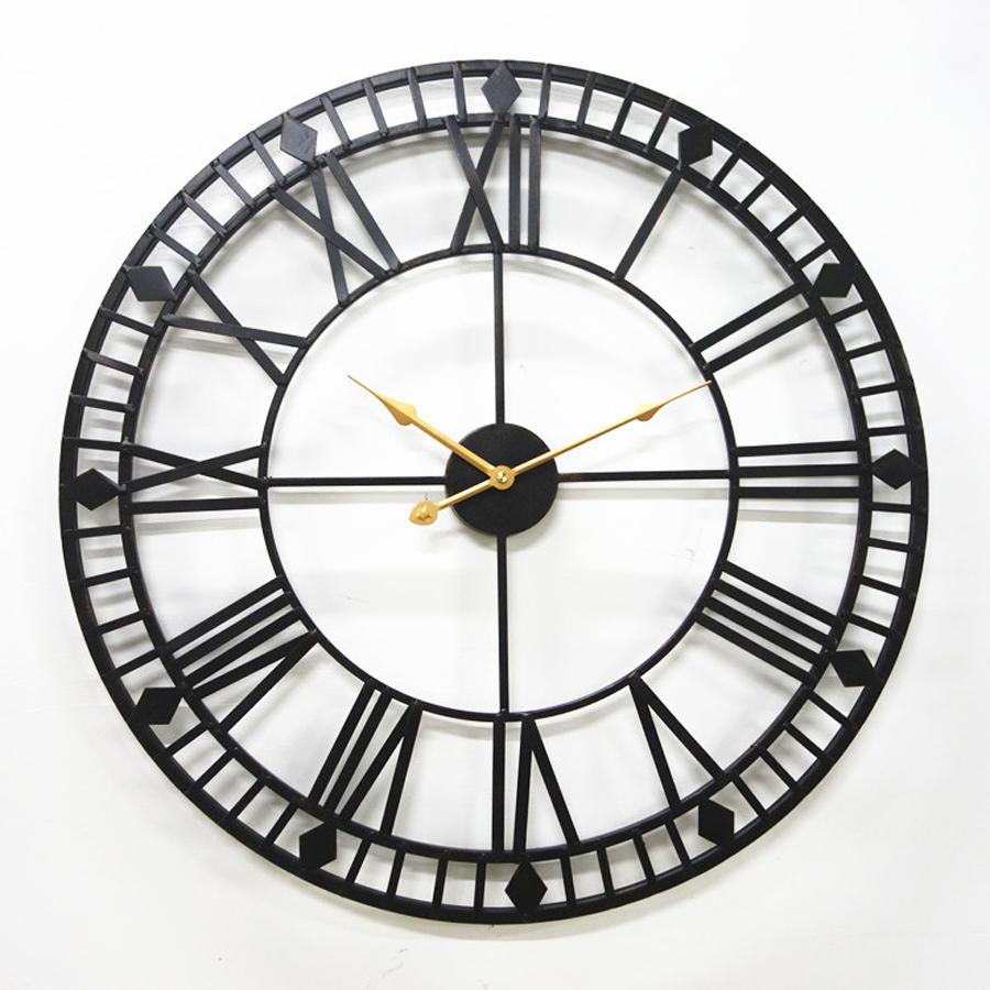 Large Metal Wall Clock Modern Design European Antique Style Roman Clocks Rusty Wall Watch Iron Art Home Decor Silent 60x60 cm