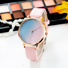 Simple Watch Women Gradient Frosted Dial Twelve Point Drilling Numbers Mixed Colors Female Quartz Belt Clock Relogio 2020