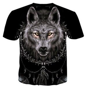 Image 3 - 凶暴な動物狼とインディアンtシャツ男性ファッション衣類 3Dプリント男性/女性原宿スタイルストリートT82 トップス