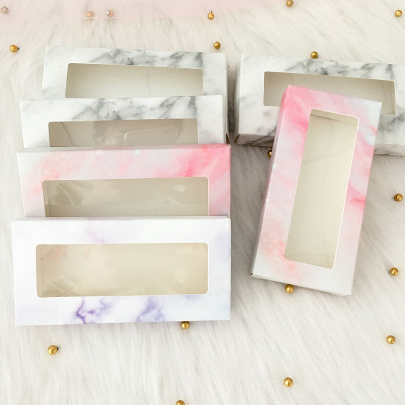 20pcs/pack Wholesale Paper Eyelash Packaging Box Lash Boxes Packaging Custom Logo Faux Mink Lashes Strip Empty Case Bulk Vendors