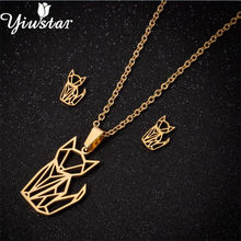 Yiustar Origami Animal Fox Jewelry Sets for Women Cartoon Fox Pendant Necklace Stud Earrings Gold Stainless Steel Collares Mujer(China)
