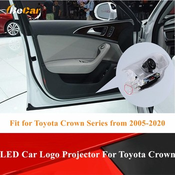цена на Special for Crown 2005-2020 Door Welcome Lights 2pcs LED Car Door Projector Logo laser light For Toyota Crown Car Atmosphere Led