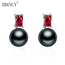 Fashion 925 sterling silver black pearl earrings for women,s