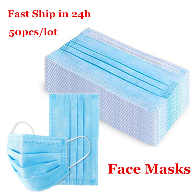 Flu Protection 50pcs Anti-dust Safe Breathable Mouth Mask Disposable Ear loop Face Masks Hypoallergenic Masks Anti Bacteria Mask 4