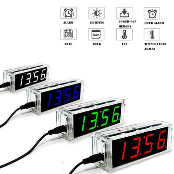Zegarek diy kit cyfrowy w kształcie tuby alarm temperatury wyświetlacz tygodniowy 51 MCU DS1302 elektroniczny zestaw zrób to sam lutowanie subjest assembly tanie i dobre opinie BONATECH CN (pochodzenie) Nowy Układy scalone logiczne budzik