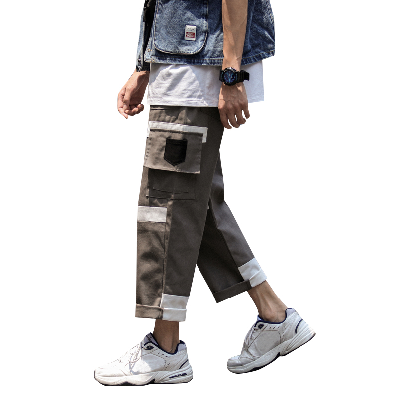 Casual Men Wide Leg Pant Loose Color Matching Overalls Cotton Trendy Fashion Teen Clothes Ankle-length Pants Streetwear Trousers