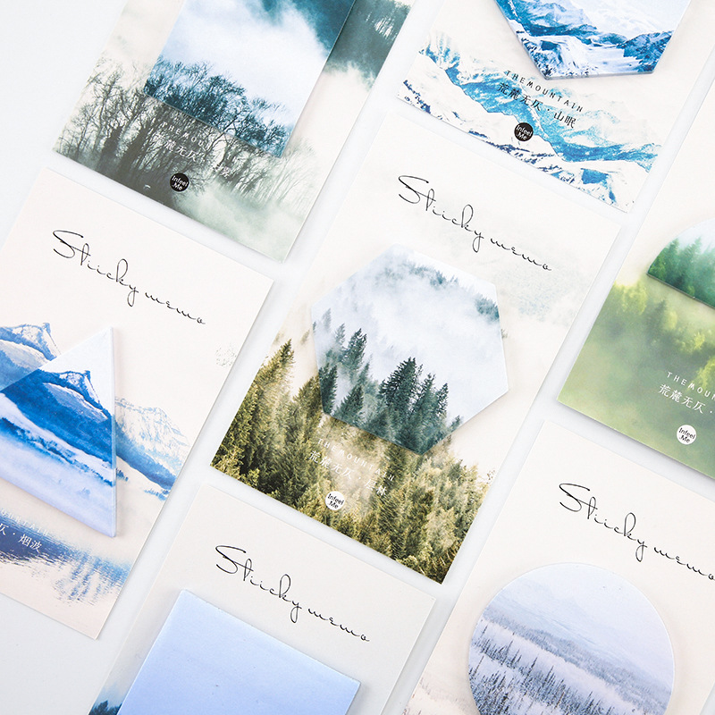 30sheets/pack Vintage Forest Mountains Sticky Note Memo Pad Note Office Planner Sticker Paper Stationery School Supplies