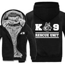 Sudadera con capucha de la Unidad de rescate K9 para hombre, chaqueta con estampado de perro y pastor, bombero, policía, K9