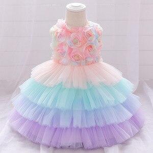 Bebê menina vestido de festa de aniversário bonito rosa tutu bolo traje do bebê vestido de bebê menina batismo roupas 0-24m