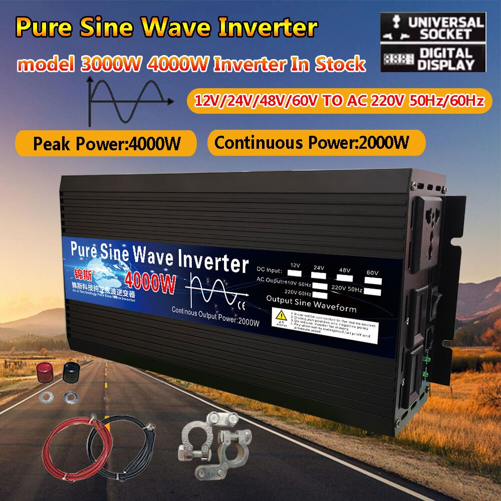 Pure Sine Wave Inverter 3000w 4000w 12V/24V/48V/60V/220V Voltage Transformer Solar Power Inverter DC12V to AC 220V LED Converter