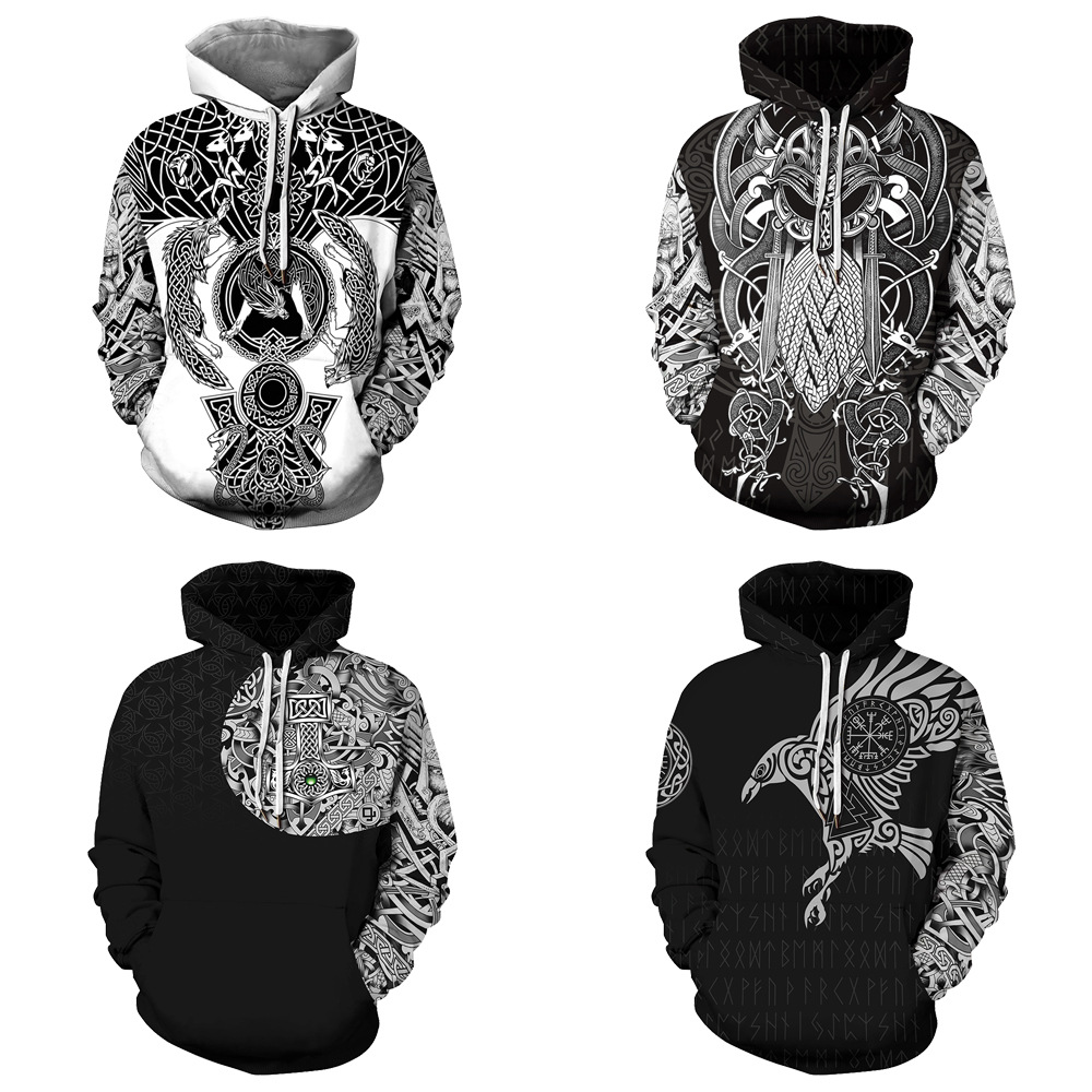 Viking Hoody Hoodie Odin Digital Printing Man Fighting Odin Heading To Valhalla Hooded Sweatshirt Casual Loose Sporty Street