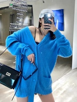 Autumn 2020 new women's Mohair easy Knitted cardigan loose coat Two colors