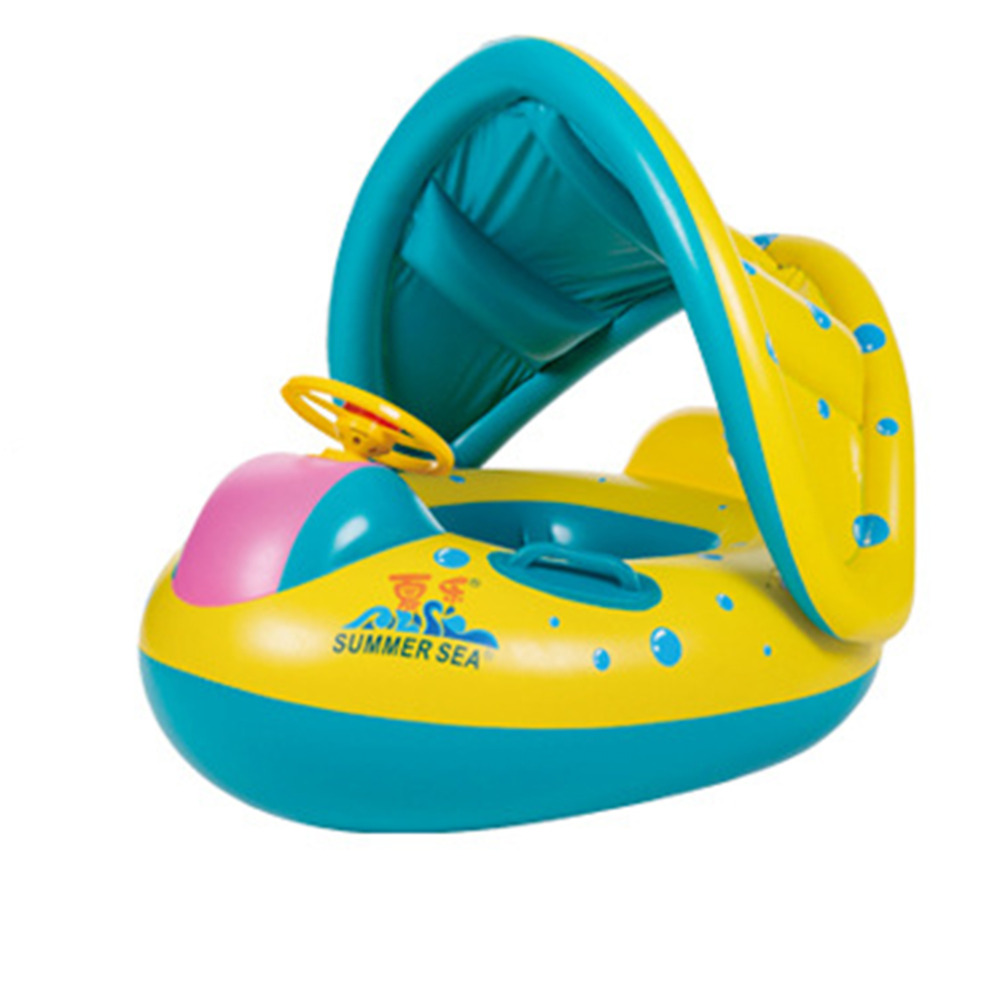 NEW Lovely Baby Kids Swimming Ring Childs Inflatable Swimming Circle Rings Rotatable Hand Handle Sun Shading Design