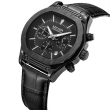 цена MEGIR Mens Watches Top Brand Luxury Sport Quartz-Watch Leather Strap Complete Calendar Clock Men Waterproof Wristwatch онлайн в 2017 году