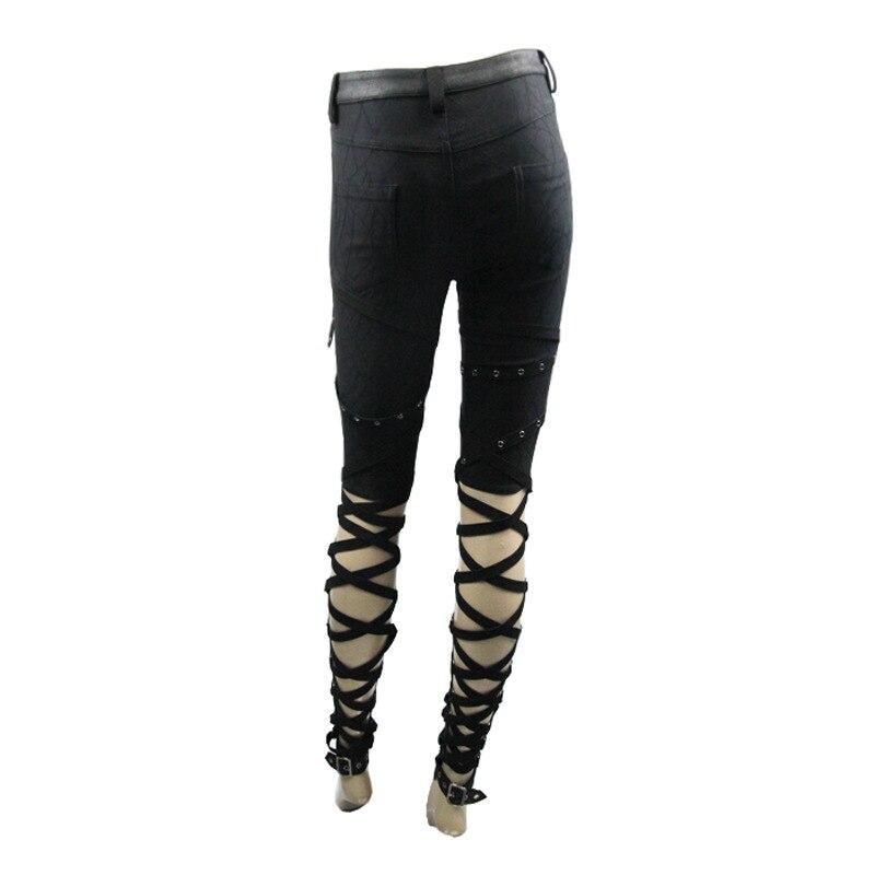 Панк рок одежда для женщин черные обтягивающие облегающие хлопковые длинные узкие брюки стрейч брюки для женщин - 4