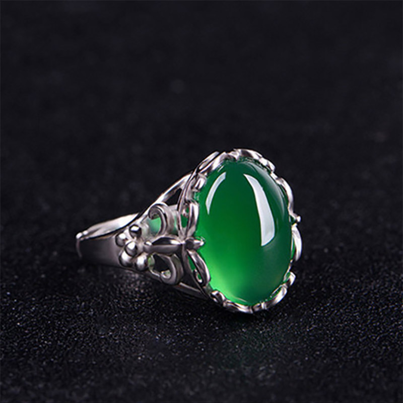 Cellacity Classic Fine Jewelry with Gemstones Silver 925 Ring for Women 15*12mm Green Chalcedony Opening adjustable Female Gift 4