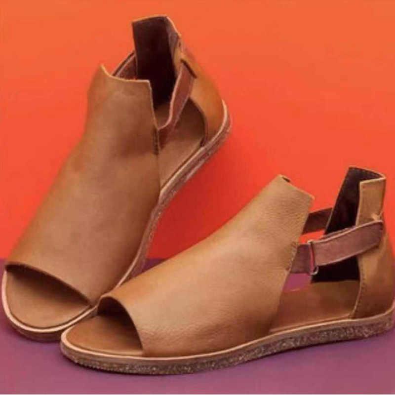 Mulheres verão sandálias planas macio pu gancho loop peep toe sandálias senhoras moda dedo do pé aberto retro roma mulher sapatos femininos casuais