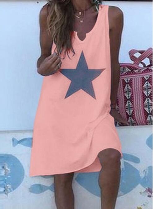 Women 2021 Loose Vintage Star Print Cotton Dress Large Big Summer  Party Beach Dresses Plus Sizes 18